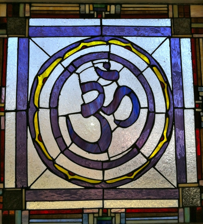 OM window at Omlink Yoga Studio, West Harrison, New York, USA
